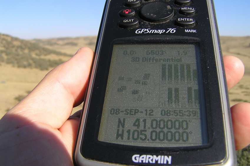 GPS reading at the confluence site.