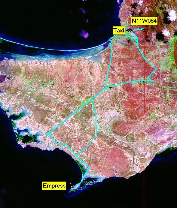 Track log shown on Landsat image
