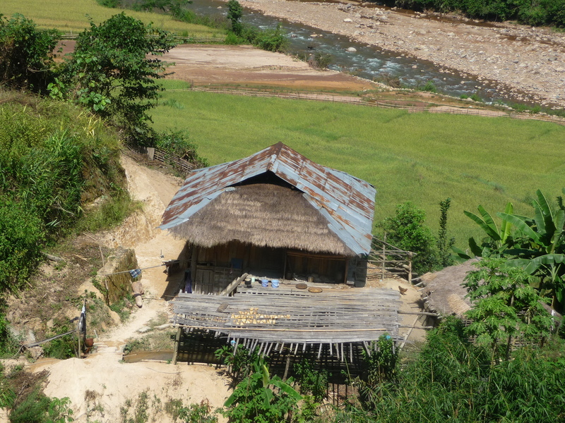 Typical house on the way to the confluence with sustenance of dried river fish and rice fields.