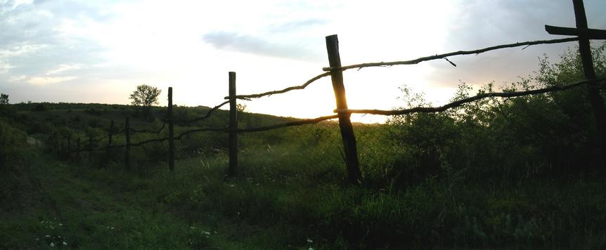 Track along the fence in the twilight