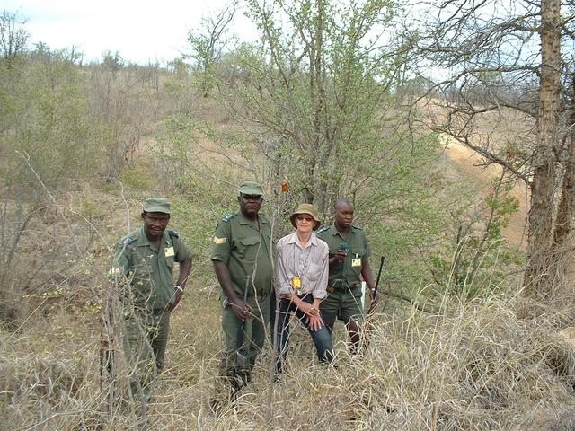 General view of confluence site. From left – Carlos Mujovo (KNP), Robert Mashala (KNP), Henrietta Bocchio, Magezi Bila (KNP).