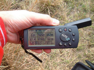 #1: GPS reading while walking away from the Confluence after being prevented from getting to it