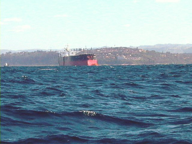 Tanker at the offshore mooring in the restricted area